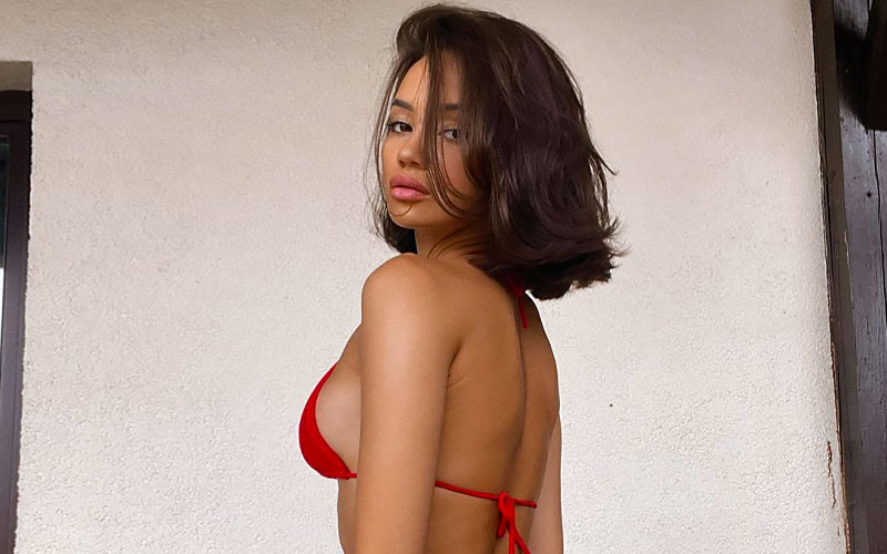 latin girl for marriage in red top